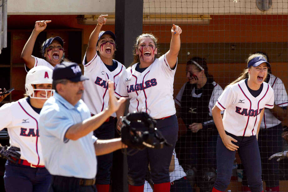 Atascocita players celebrate Megan Calfee's game-tying RBI single in the bottom of the sixth inning during a 6A semifinal game at the UIL State Softball Championships in Austin. Go to HCNpics.com to view more photos from the game. Photo: By Jason Fochtman