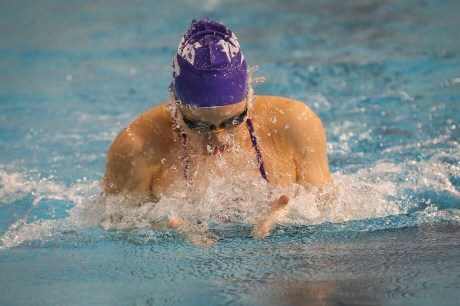 Ridge Point's Kylie Powers set a meet record of 1:05.62 in the 100-yard breaststroke at the 5A and Under Houston Open at Don Cook Natatorium. The Lady Panthers finished fourth as a team. Photo: Michael Minasi