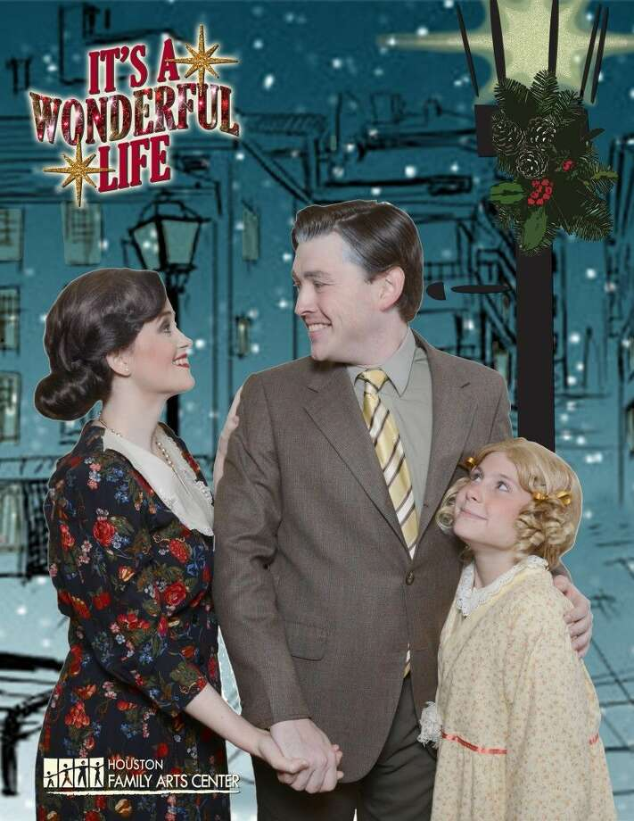 """It's A Wonderful Life"" will be performed at Houston Family Arts Center Nov. 27 through Dec. 20. Pictured from left are: Nicole Hollbrook as Mary Bailey, Brock Hatton as George Bailey, and Clairey Townsend as ZuZu Bailey. Photo: Submitted"