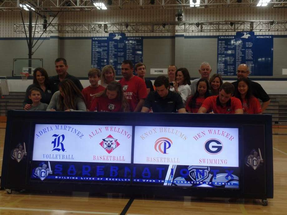 Four Concordia Lutheran students sign their National Letters of Intent. From left to right: Adria Martinez (Rice), Ally Welling (Davidson), Knox Hellums (Pepperdine), Ben Walker (Georgia) Photo: Cameron Brock