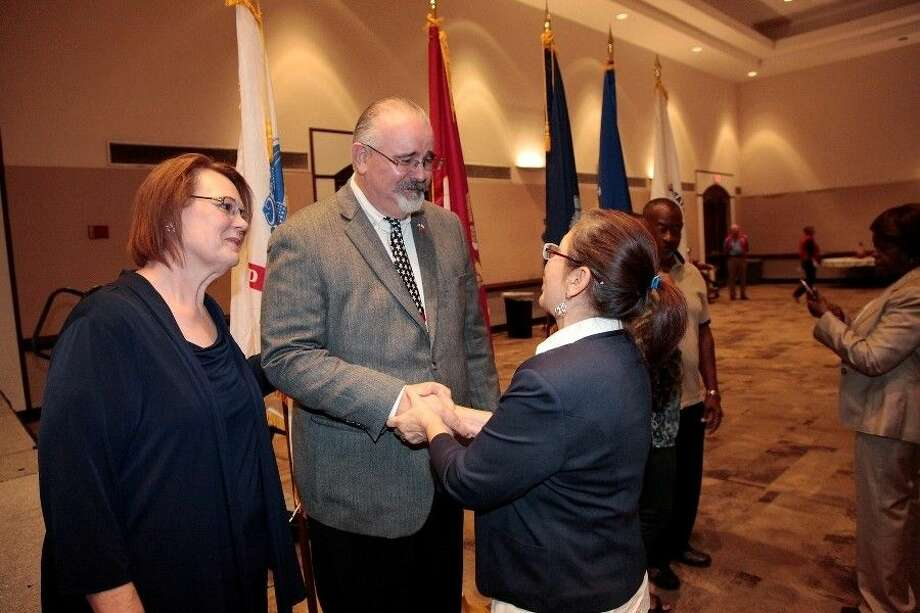 Precinct 4 Commissioner R. Jack Cagle greets guests during a Veterans Day celebration at the Humble Civic Center. Photo: Submitted Photo