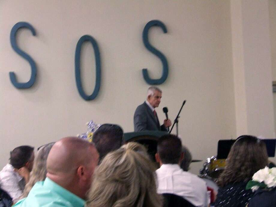 """Jim """"Mattress Mack"""" McIngvale speaks to everyone at the Society of Samaritans Boots and Bling fundraiser on June 17. Photo: Lindsey Vaculin"""