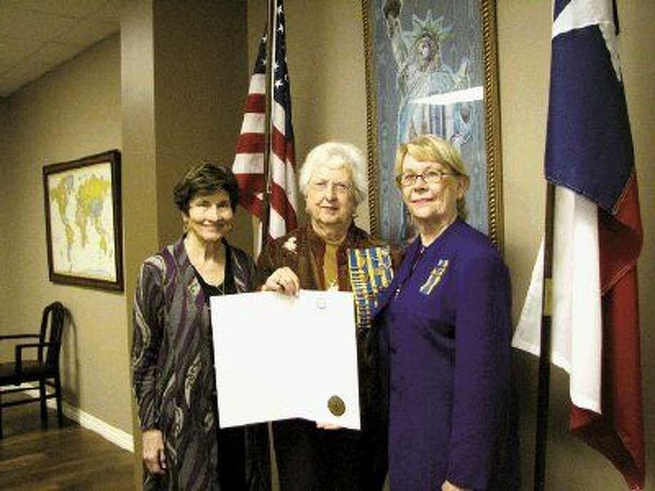 Pictured from left to right are Nancy Jo Derby, chapter vice president; Marilyn Evans and Judy Withers, chapter president.
