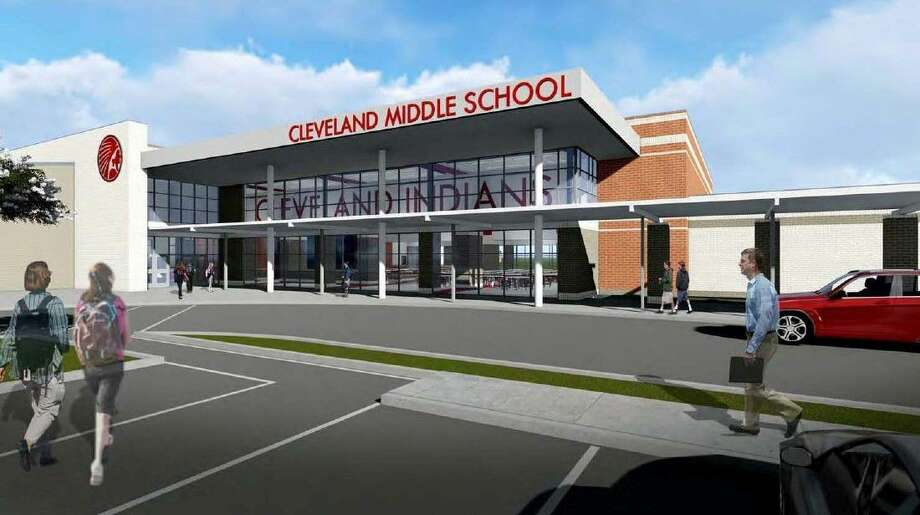 An artist's rendering shows how Cleveland Middle School will appear after renovations. Photo: Submitted