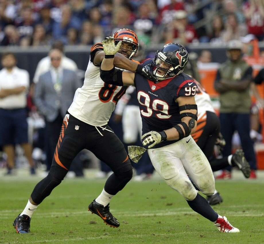 J.J. Watt and the Texans play host to the Tennessee Titans today.