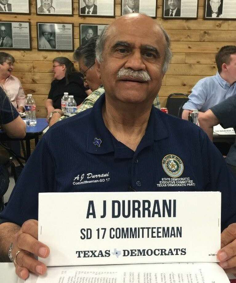 A.J. Durrani, a community activist and retired petroleum engineer from Katy, was selected as the Texas Democrats' permanent Asian-American superdelegate. He is the first permanent Asian-American superdelegate in the state party's history.