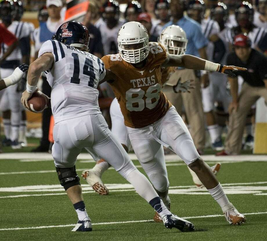Cedric Reed (88) and the University of Texas Longhorns played their last regular season game against TCU. Reed, now a senior, is shown here in a file photo from last season. Photo: Courtesy UT Athletics