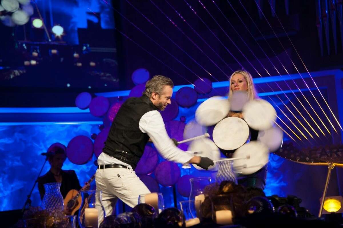 William Close is pictured with the snowflake drum.