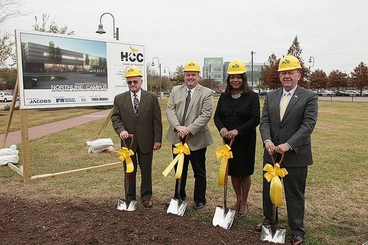 Taking the first ceremonial shovels of dirt are (from l-r) Dave Wilson, HCC Trustee District II, Zeph Capo, HCC Trustee District I, Dr. Cesar Maldonado, HCC chancellor, and Dr. Margaret Ford Fisher, HCC Northeast president.