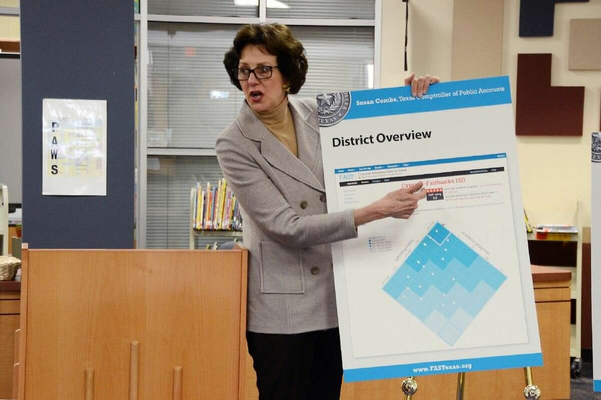 """Texas Comptroller Susan Combs displays Cypress-Fairbanks ISD's spending index and academic progress as compared to fiscal peers throughout Texas during a visit to Holbrook Elementary School in February. CFISD's """"very low"""" spending index and """"very high"""" academic progress rating is near the pinnacle of the plot chart."""