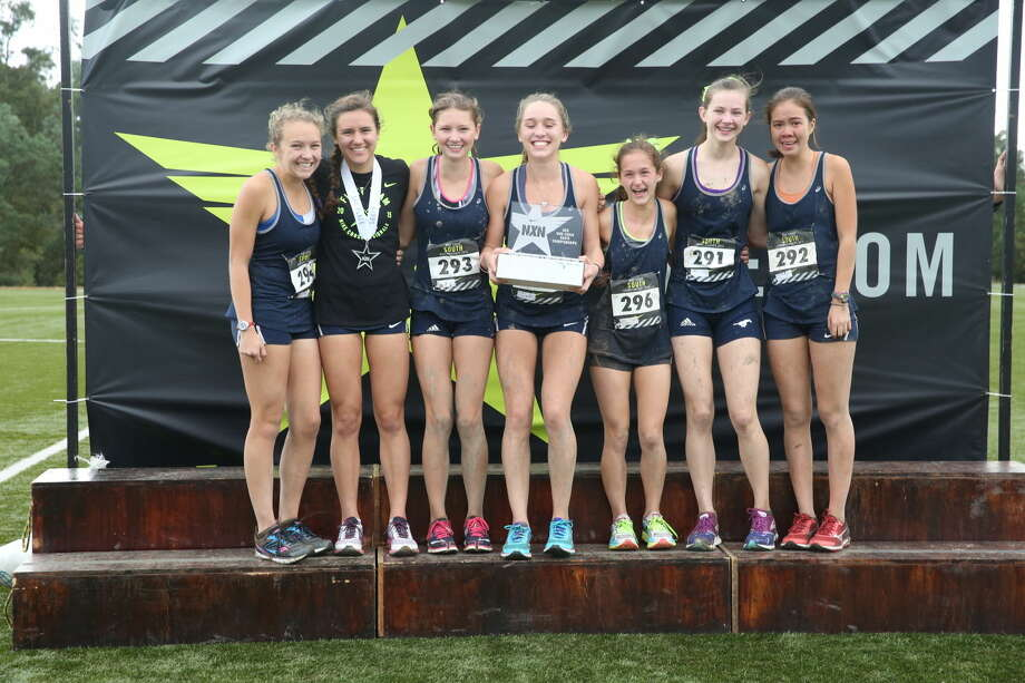 The Kingwood girls captured second place at the Nike Cross Country South Regional on Saturday, earning a trip to Portland, Oregon for the national championship on December 5th. From left: Erin Gallagher, Abby Guidry, McKenzie Clark, Olivia Thompson, Jessica Hergott, Sarah Antrich, and Amy Berg.