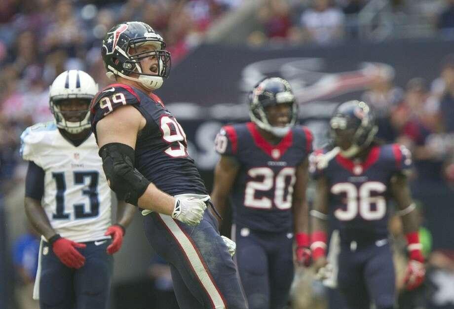 Houston Texans defensive end J.J. Watt has three receiving touchdowns this season.