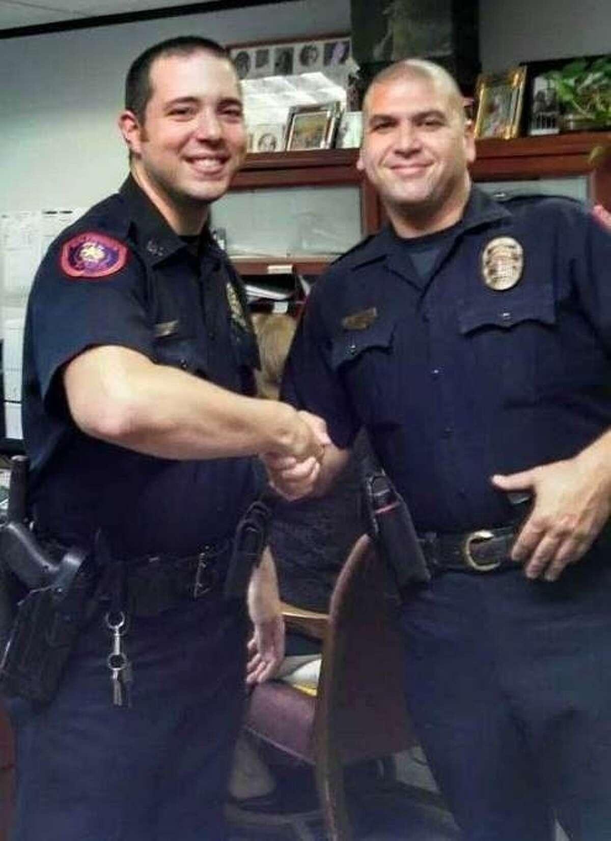New Splendora Police Chief Christopher Wall (right) poses with Splendora PD Corporal Ryan Simpson, one of the Splendora PD team.