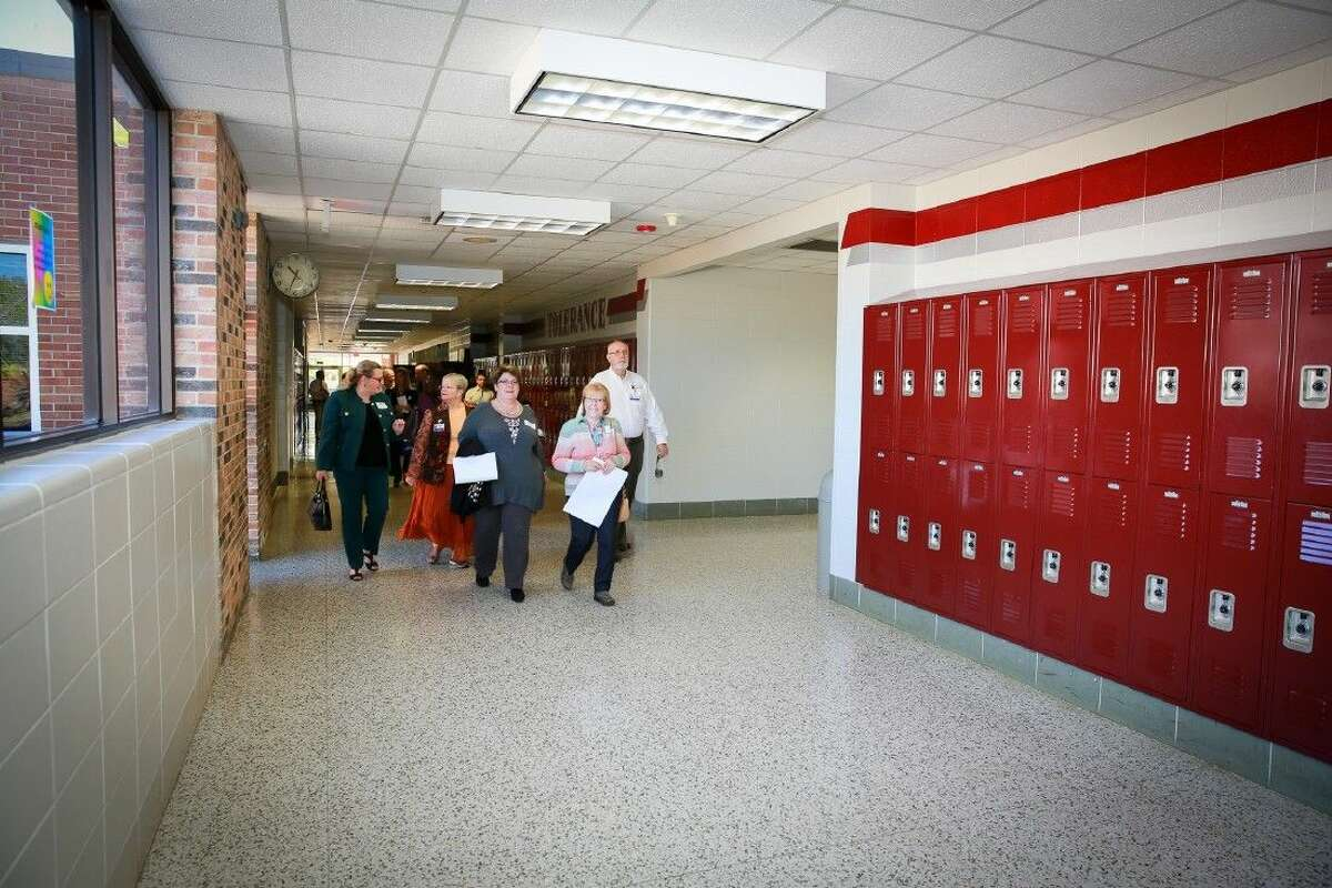 Kim Barker, CCISD Trustee Ann Hammond, Joyce Abbey, Bette Johnson and CCISD Trustee Charles Pond tour the new addition at Seabrook Intermediate School. (Kim Barker, Joyce Abbey and Bette Johnson served on the Facilities Assessment Committee for the 2013 bond program).
