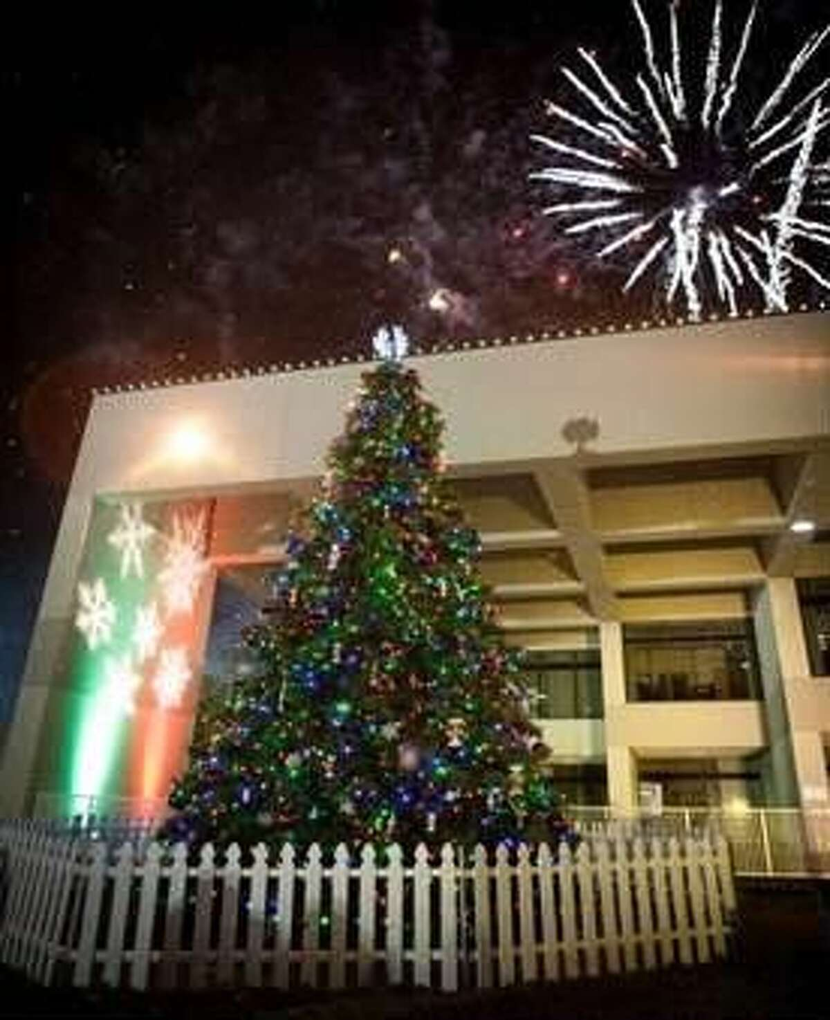 Christmas tree in front of city hall.