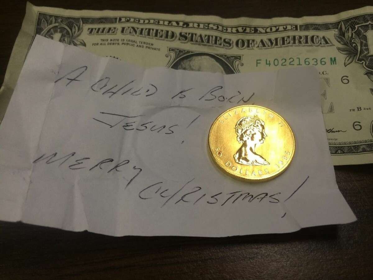 The second gold coin of the season was dropped into the Greater Houston Salvation Army's red kettle.