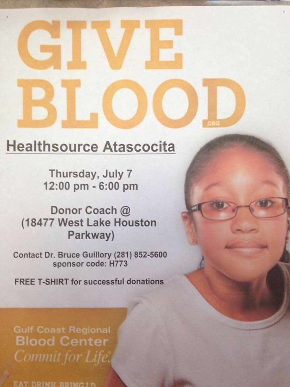 The community is invited to the Atascocita Community Blood Drive July 7, from 12-6 p.m.
