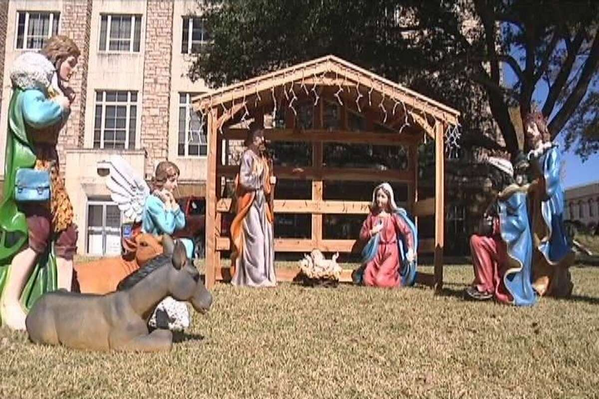 The nativity scene displayed on the grounds of the Cherokee County courthouse square is being challenged by a non-theistic group.