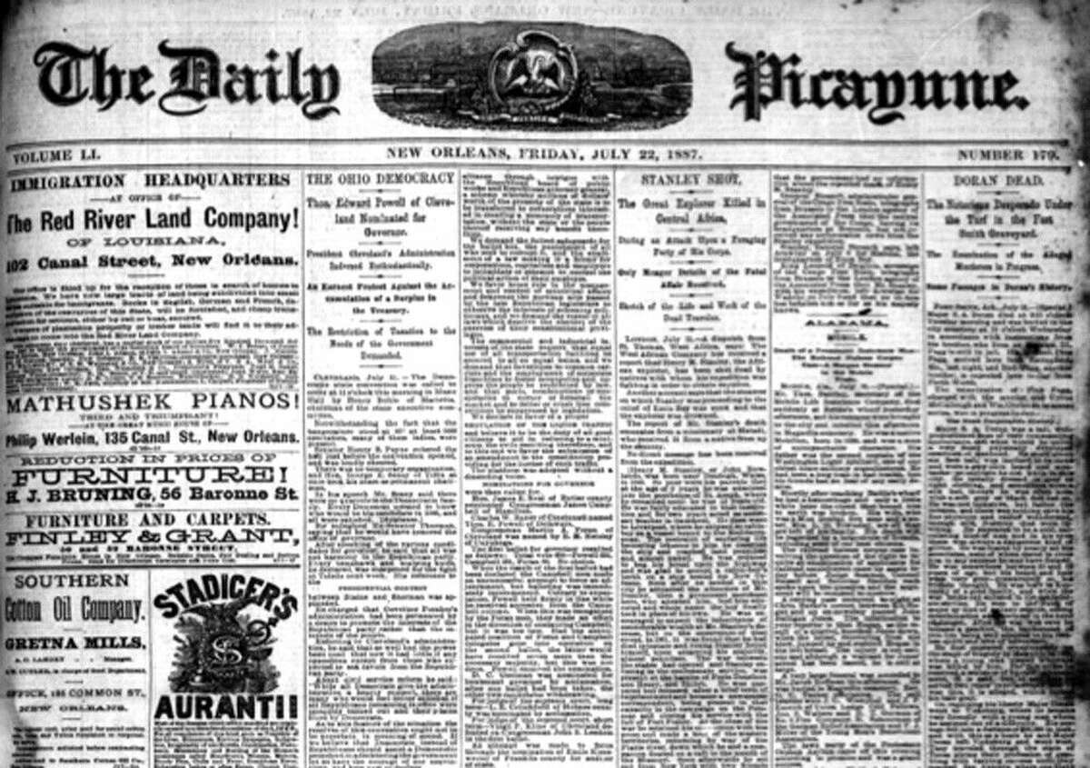 """In 1887 and 1888, the New Orleans """"Times-Picayune,"""" then called """"The Daily Picayune"""" as shown here, reported on the Arkansas murder trial of notorious gambler Pink Fagg at which a Cleveland, Texas man was called as a witness and thought to have been an accessory in the crime. (This public domain image may be found on Newspapers.com)."""