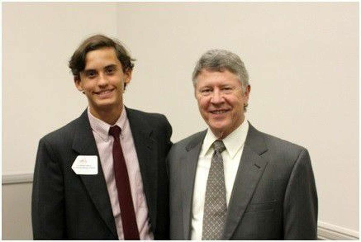 Alexander Varela was honored by Harris County Judge Ed Emmett at a ceremony at NRG Stadium for the Do the Write Thing Challenge.