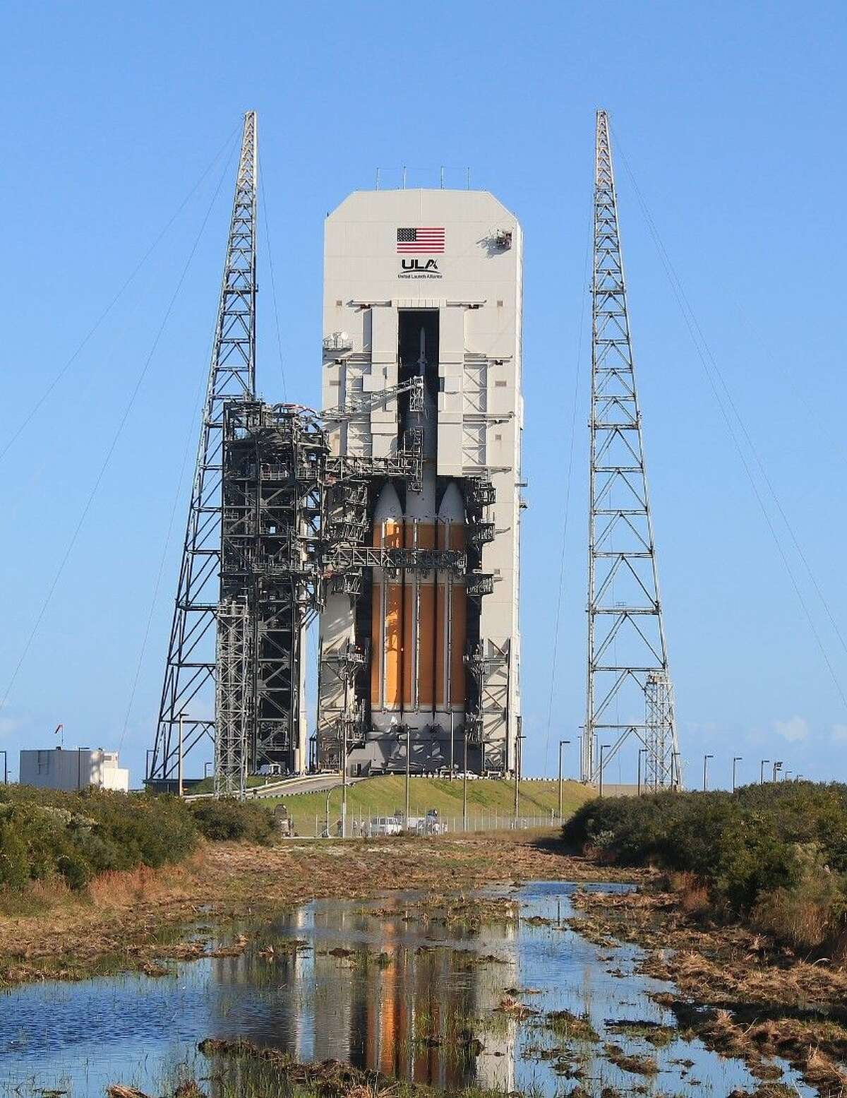 The United Launch Alliance launch pad with the Delta IV rockets and the Orion spacecraft.