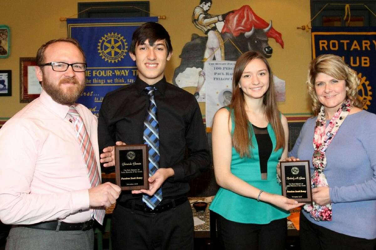 Pictured L-R: South Houston High School Assistant Principal Bradley Luster; Junior Rotarians of the Month Gerardo Garcia and Kimberly Garza; and Pasadena ISD Associate Superintendent Rhonda Parmer.