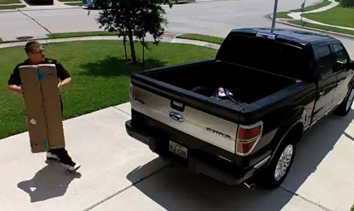 The man shown here is wanted for stealing packages from a porch in the Richmond area. Anyone with information should contact the Fort Bend County Crime Stoppers.