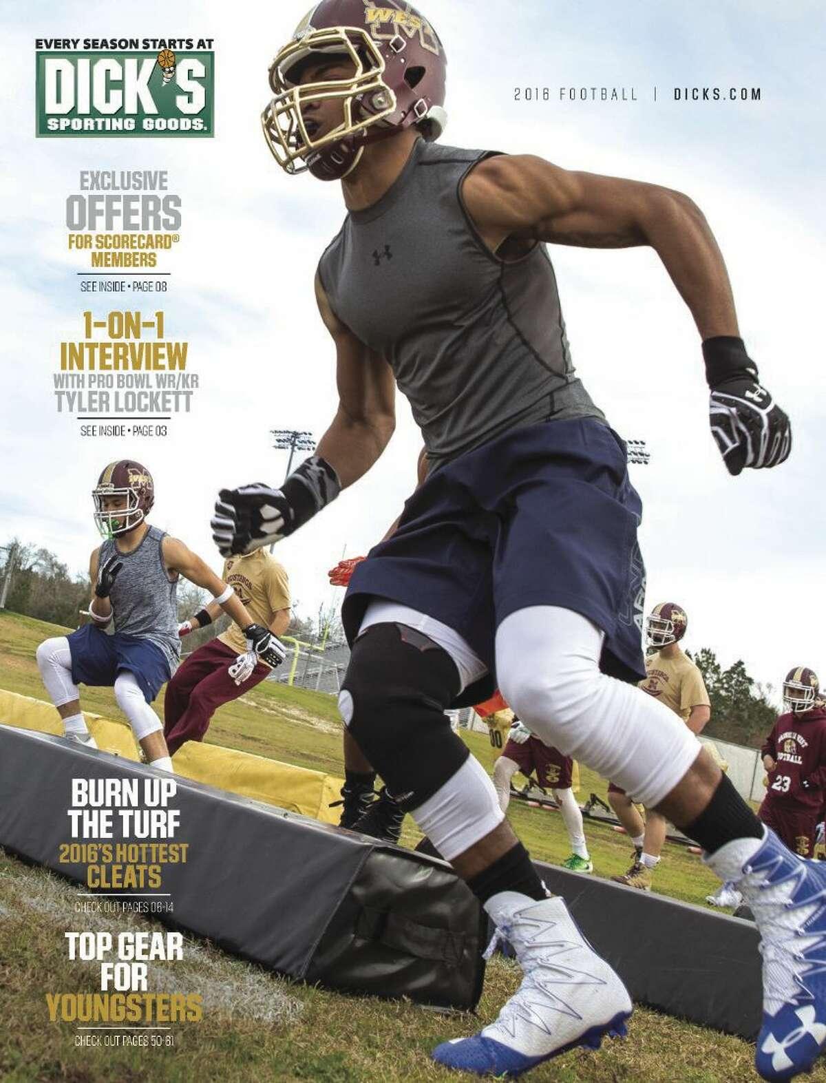 Cover photo of the 2016 DICK's Sporting Goods football catalog featuring Magnolia West players.