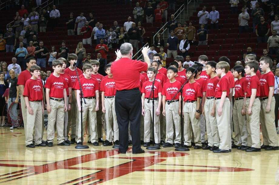 The Fort Bend Boys Choir made an appearance recently at the Houston Rockets basketball game where they sang the national anthem.