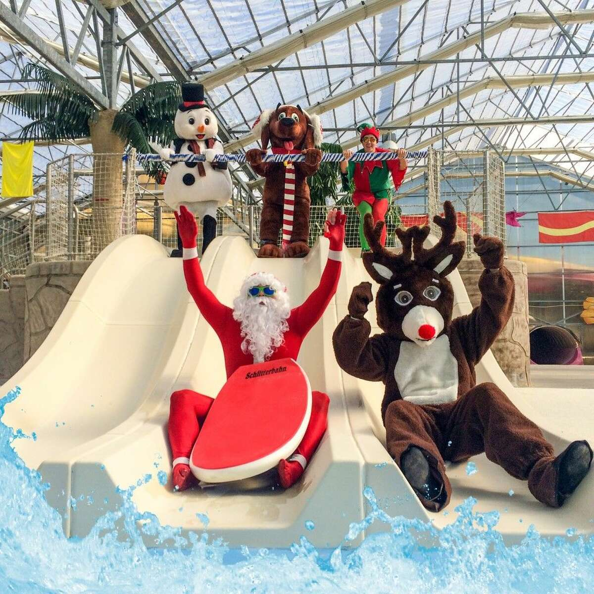 The celebration would not be complete without the traditional Holiday Splash activities like Surfing with Santa.