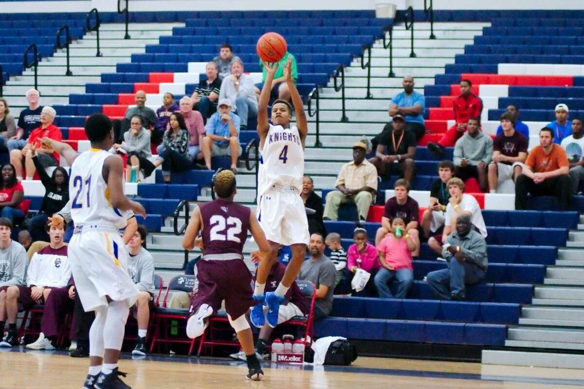 Elkins' Chad Bowie (4) puts up a shot against Clear Creek in the final game of the Carlisle-Kruger Classic Dec. 6.