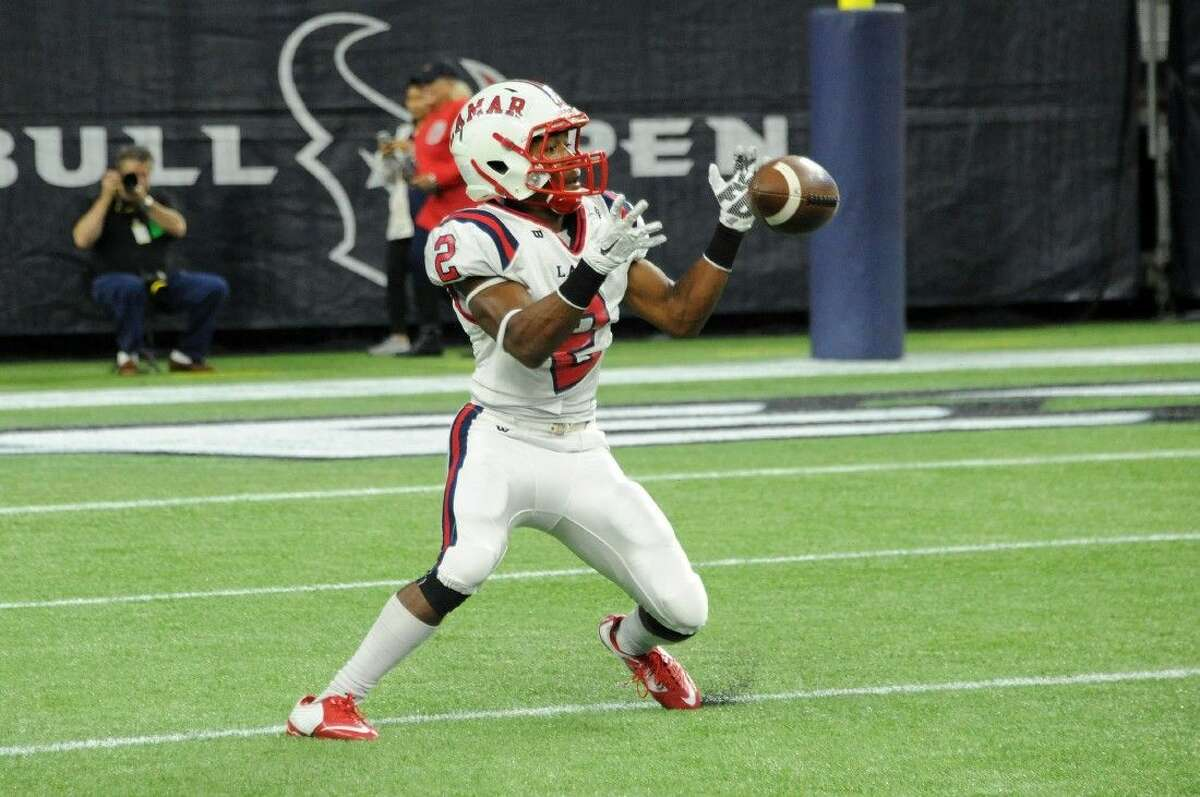 Lamar kickoff return Logan Latin has the ball bounce away from him for a second before he was able to pick up the ball and get off a return during the Texans' 19-17 loss to Dickinson Saturday afternoon at the 6A Division I Region III semifinals at NRG Stadium in Houston. To view or purchase this photo and others like it, visit HCNpics.com.