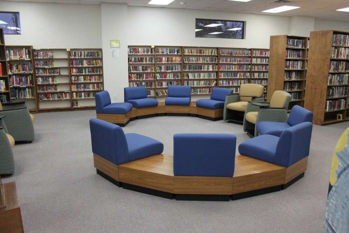 A new ring of furniture sits in the reading area of Coldspring Area Public Library, promoting a more open environment for visitors.