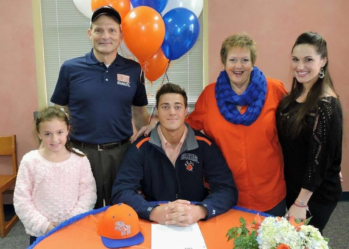 Dulles senior Josh Biles signed a National Letter of Intent to play baseball for Sam Houston State. He is pictured (from left) with family members Caelyn (niece), Andy (father), Marilyn (mother) and Grece (sister).