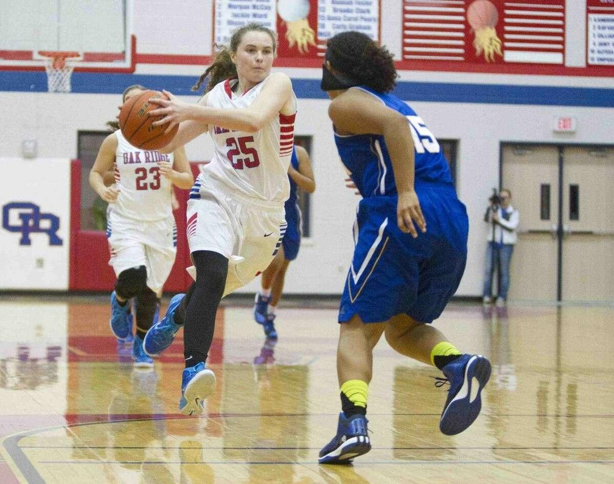 Oak Ridge's McKenna Christler drives toward the basket during a non-district game against Klein on Tuesday night.