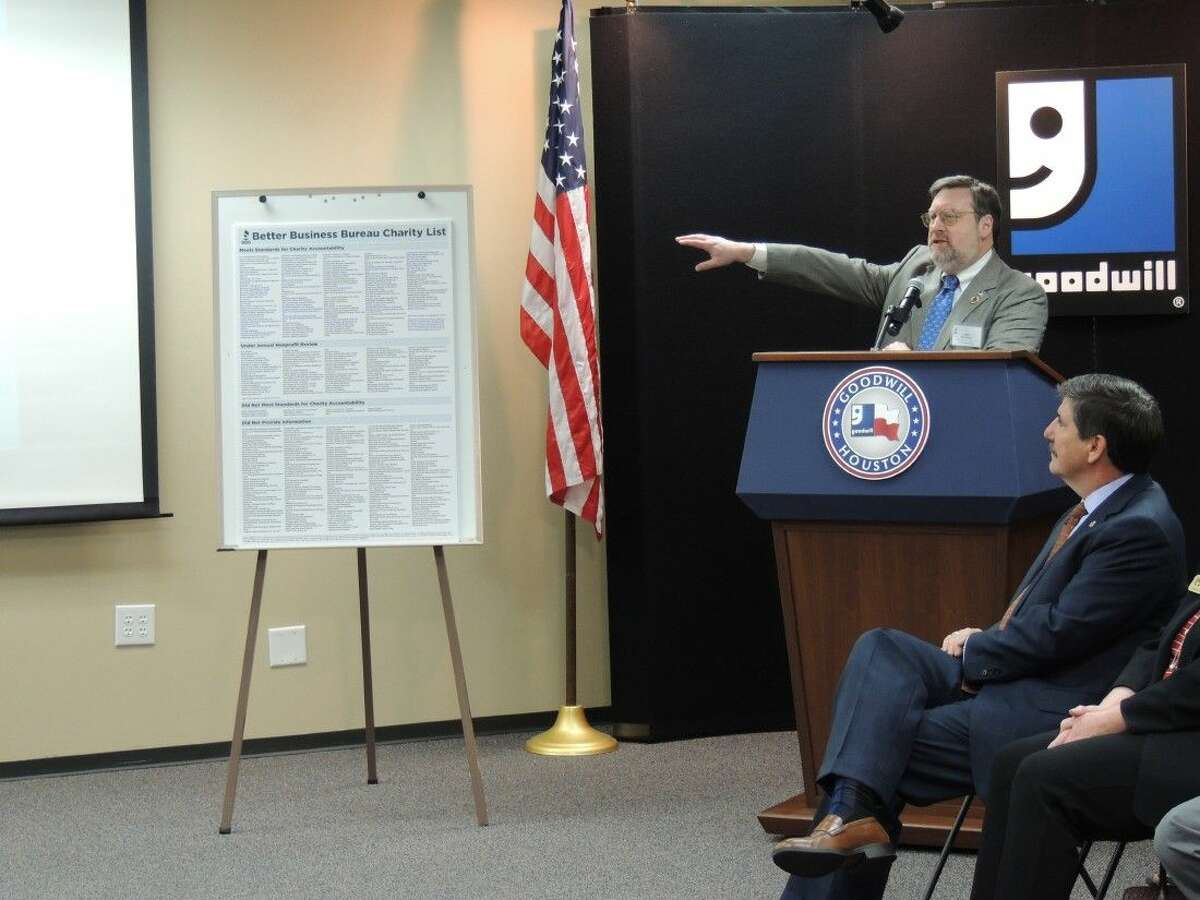 Dan Parsons, President and CEO of the Better Business Bureau, discussed the charity review chart presented at the Nov. 16 meeting at Goodwill Houston. The BBB also offered tips on avoiding charitable-giving scams during the holiday season.