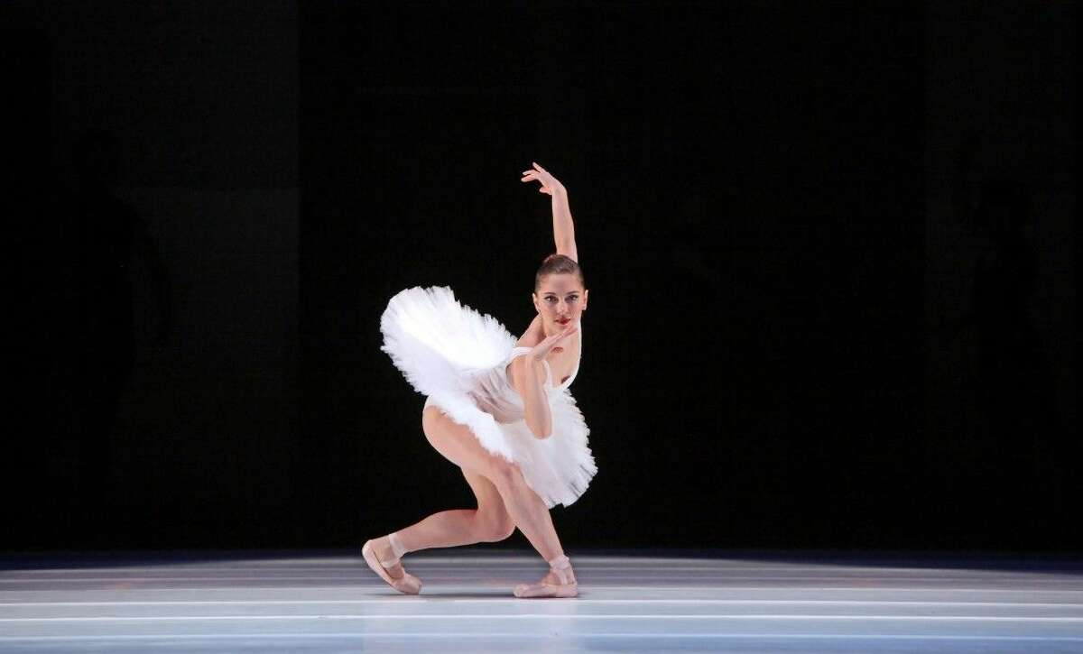 """Melody Mennite in the ballet """"Velocity"""" choreographed by Staton Welch. The number is a part of Houston Ballet's """"Jubilee of Dance"""" on Dec. 5."""