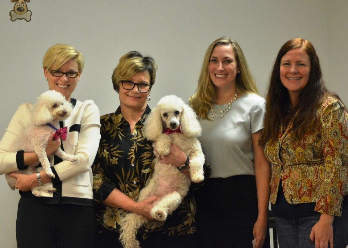 Left to right: Texas State Representative Sarah Davis holding HHS mascot Wilma (a puppy mill survivor), HHS Executive Director Sherry Ferguson holding HHS mascot Lizzie (a cruelty survivor), THLN Southeast Texas Chapter President Courtney Davis, and THLN Board Vice President Shelby Bobosky.