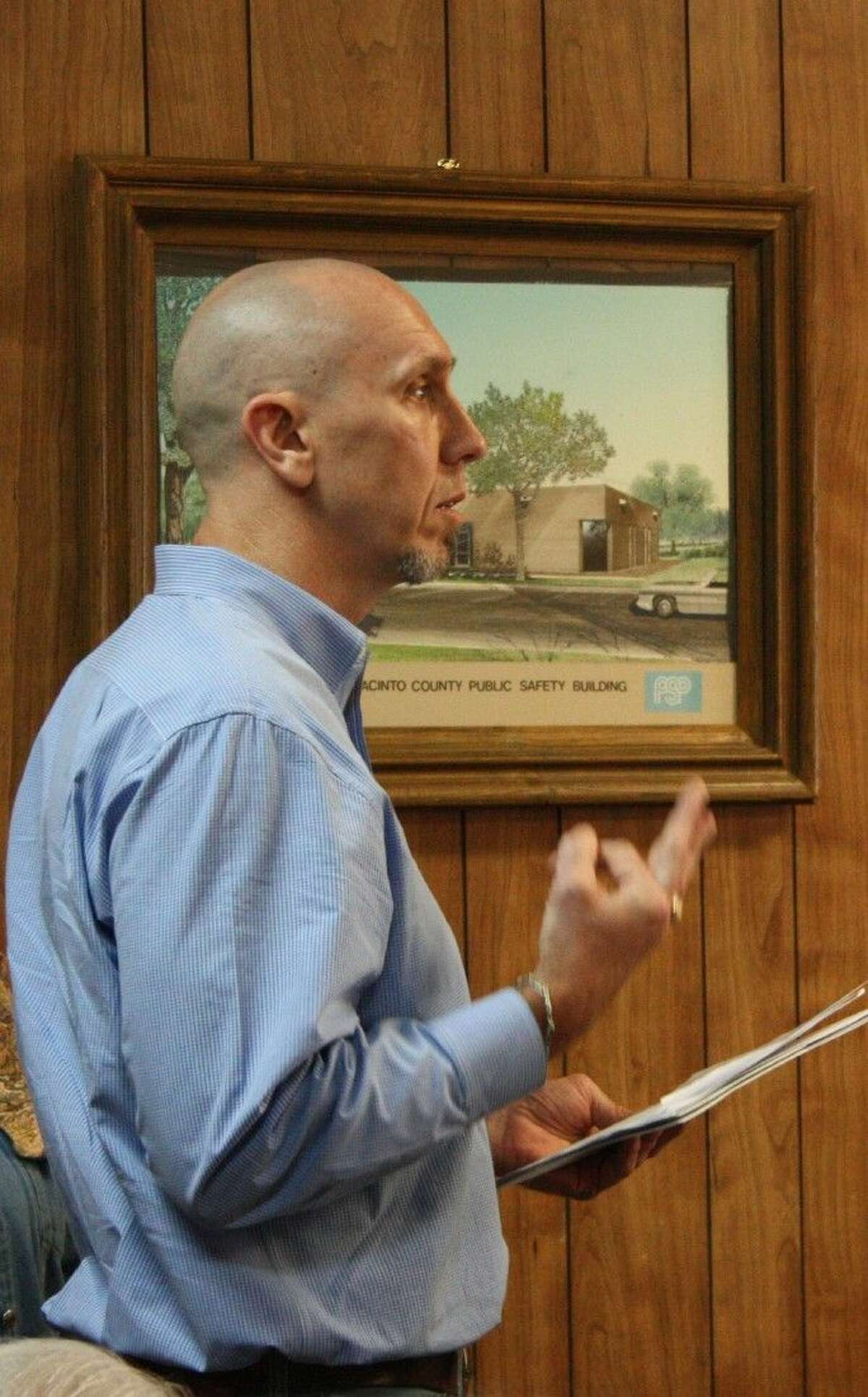 James Washburn of LCJ Companies discusses the plan for the acquisition and rehabilitation of the Hillside Terrace apartments during the San Jacinto County Commissioners Court meeting on Dec. 9.