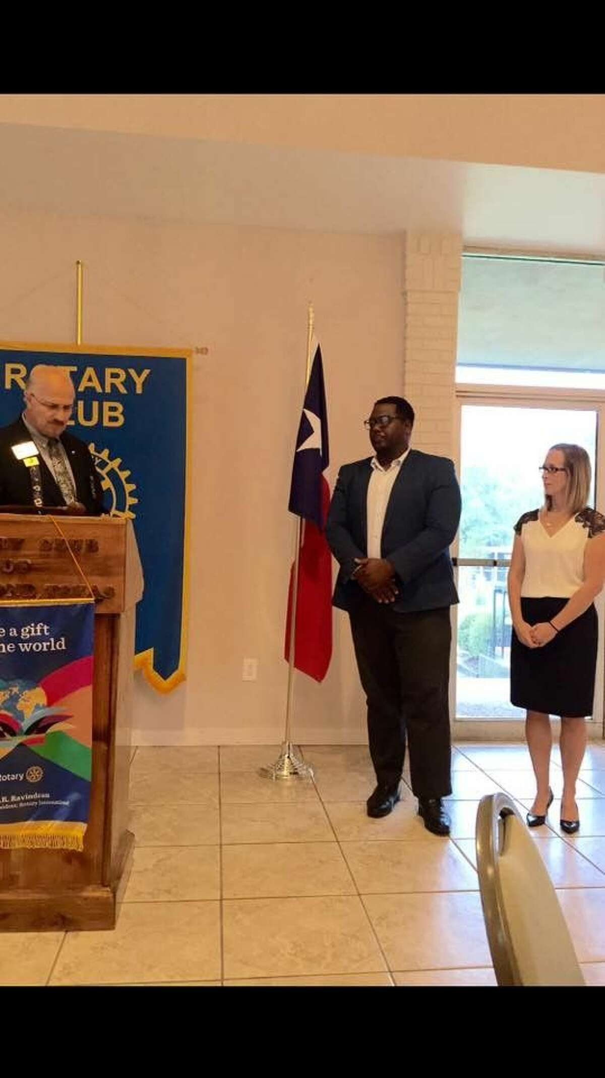 Pictured left to right are the Rotary Club District Governor Nick Giannone, and new inductees, Marquie Fontenot, and Michaela Filla.