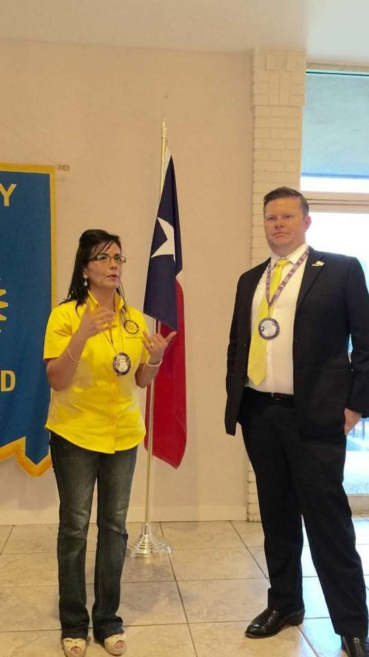 Pictured are Richmond Rotary Club President Liz Moreno and Eric Junker, Rotarian of the Month.