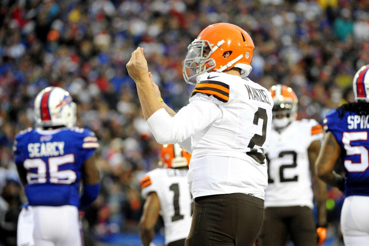 Cleveland Browns quarterback Johnny Manziel celebrates after scoring a touchdown against the Buffalo Bills.