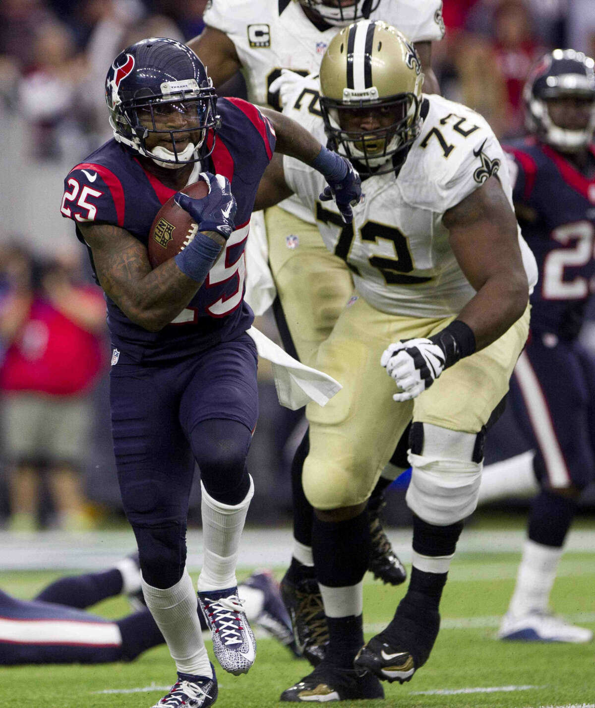 Houston Texans cornerback Kareem Jackson returns an interception 50-yards during the fourth quarter of an NFL game Sunday, Nov. 29, 2015, in Houston. Go to HCNpics.com to view more photos from the game.