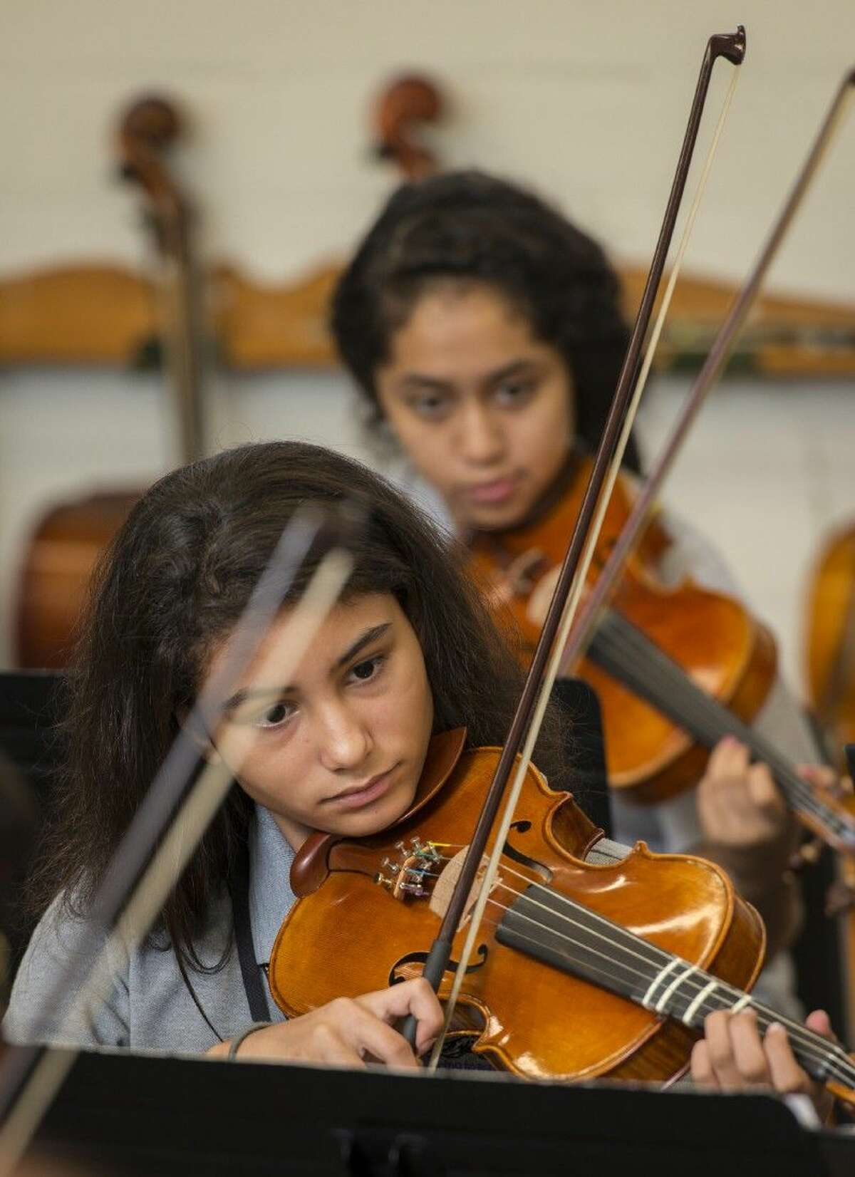 Orchestra students practice at Johnston Middle School, Oct. 1, 2014. Johnston Middle School is a performing and visual arts magnet school.