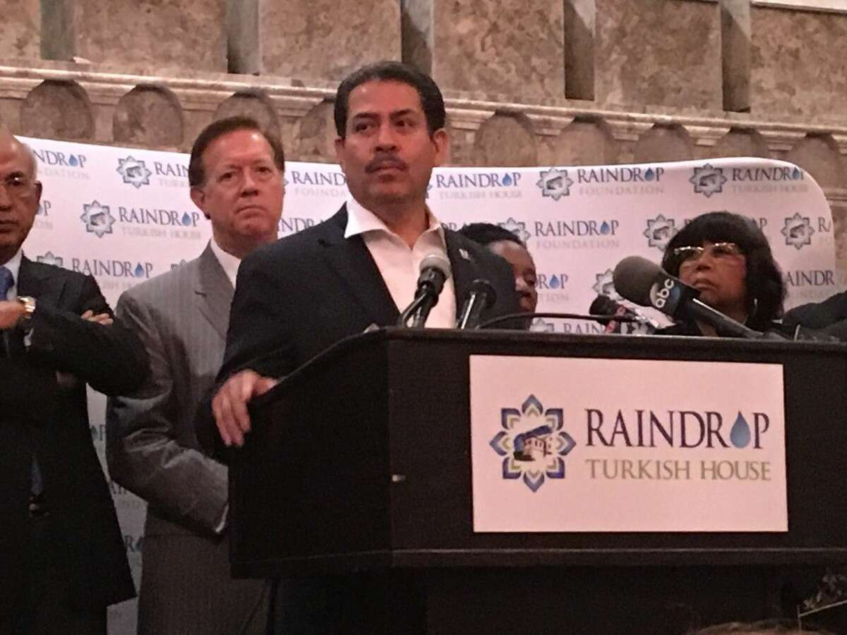 Former Harris County Sheriff Adrian Garcia speaks at the June 30 press conference and prayer vigil at the Raindrop Turkish House in Houston regarding the Istanbul bombings.