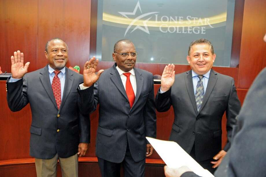 Ken E. Lloyd, Alton Smith and Art Murillo (pictured left to right) were sworn in as new Lone Star College System Board of Trustee members. Board members are elected to single member districts and are volunteers who serve without pay. Photo: LSC System