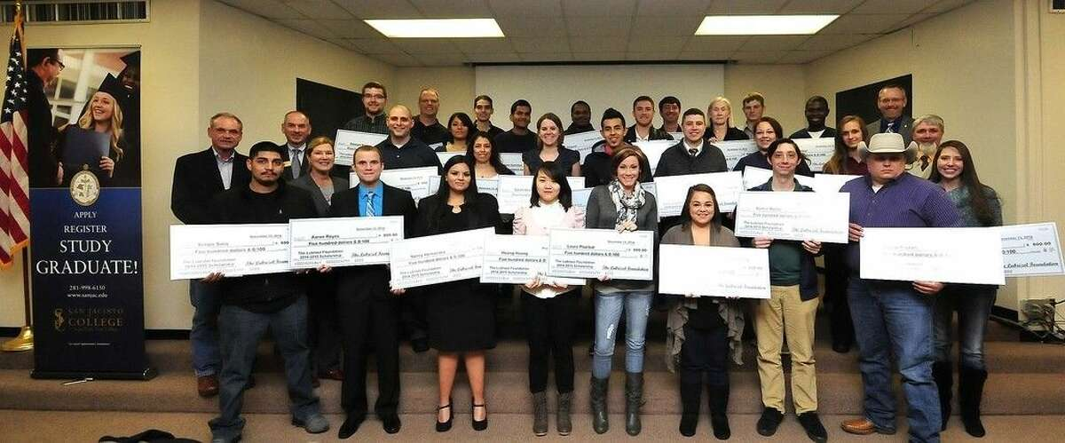 Pictured, (front row, left to right), are Lubrizol scholarship recipients Sergio Solis, Aaron Reyes, Nancy Hernandez, Huong Hoang, Laura Plazibat, Daisy Heiden, Martin Monte, David Payton, and Martha Nicklaus. (middle row, right to left) Michael Kane, San Jacinto College dean of health sciences; Lubrizol scholarship recipients Catherine Clement, Monica Ramirez, Ricardo Dostal, Jorge Figueroa, Sarah Heasty, Sandra Olivares, and Brad Fuller; Ruth Keenan, San Jacinto College Foundation executive director; Van Wigginton, San Jacinto College provost; and Chris Hext, Lubrizol public affairs manager. (back row, left to right) Lubrizol scholarship recipients Stewart Rolen, David Tee, Lorena Saucedo, Missael Galvan, Jose Sanchez, Justin Hogues, Nolan Farthing, Cathy Cardinal, William Maxwell, and Ambrose Isibor; and Jeffrey Parks, San Jacinto College dean of business and technology. Photo credit: Jeannie Peng-Armao, San Jacinto College marketing, public relations, and government affairs department.