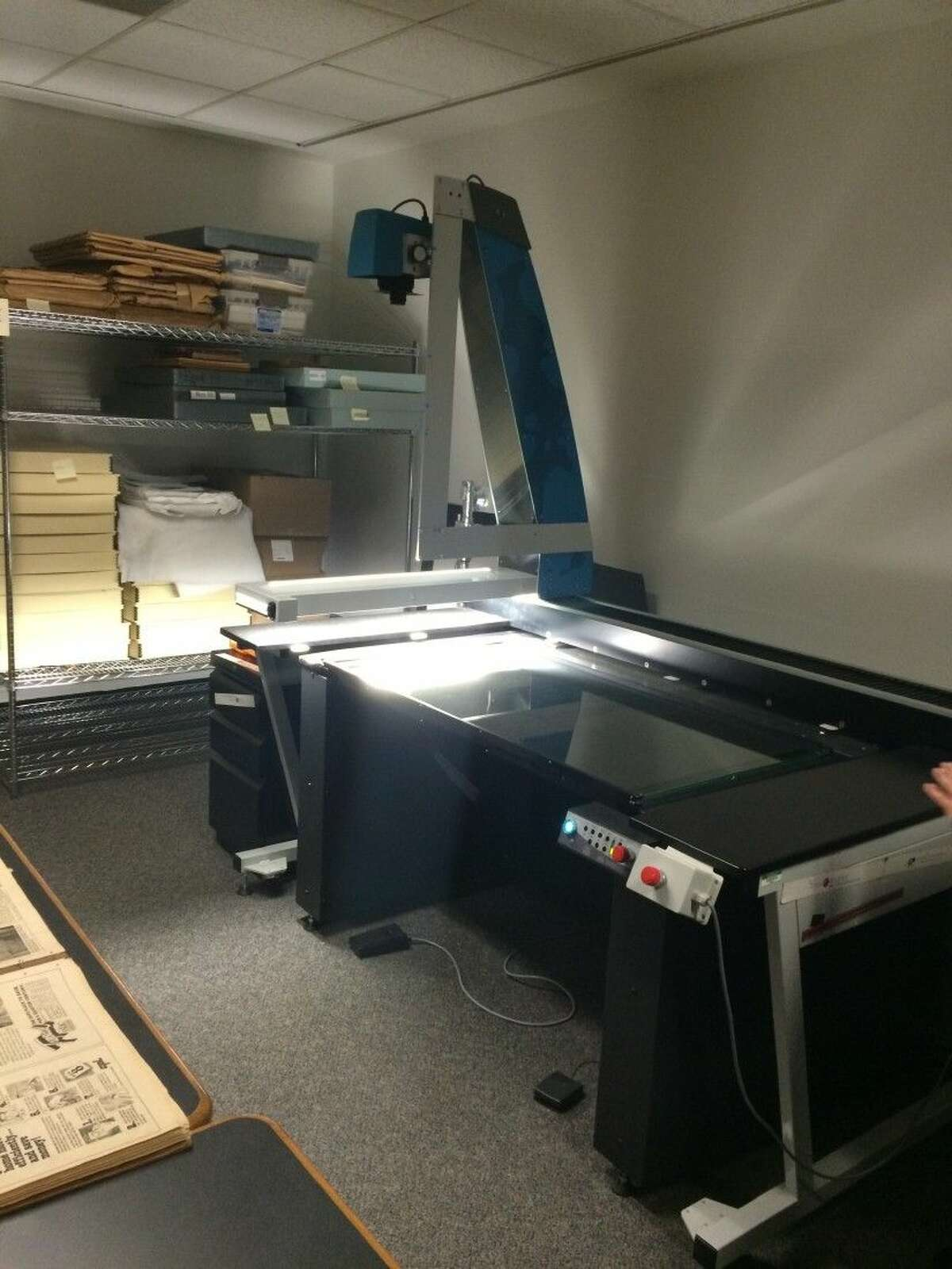 The digitizing machine at University of North Texas.
