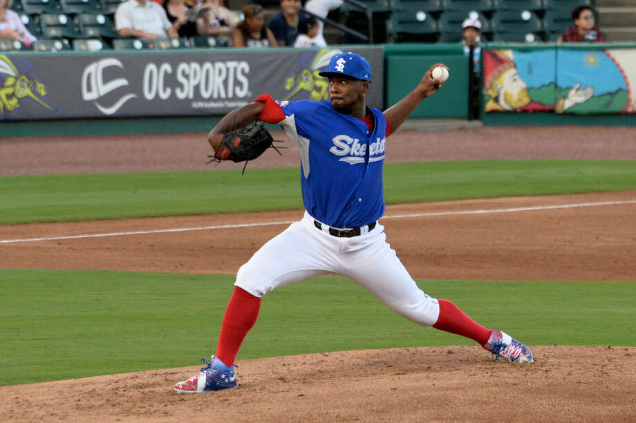 Sugar Land Skeeters pitcher Roy Merritt worked seven shutout innings Aug. 14 at New Britain, allowing two hits and striking out seven in a 4-0 Skeeters victory. Photo: Craig Moseley