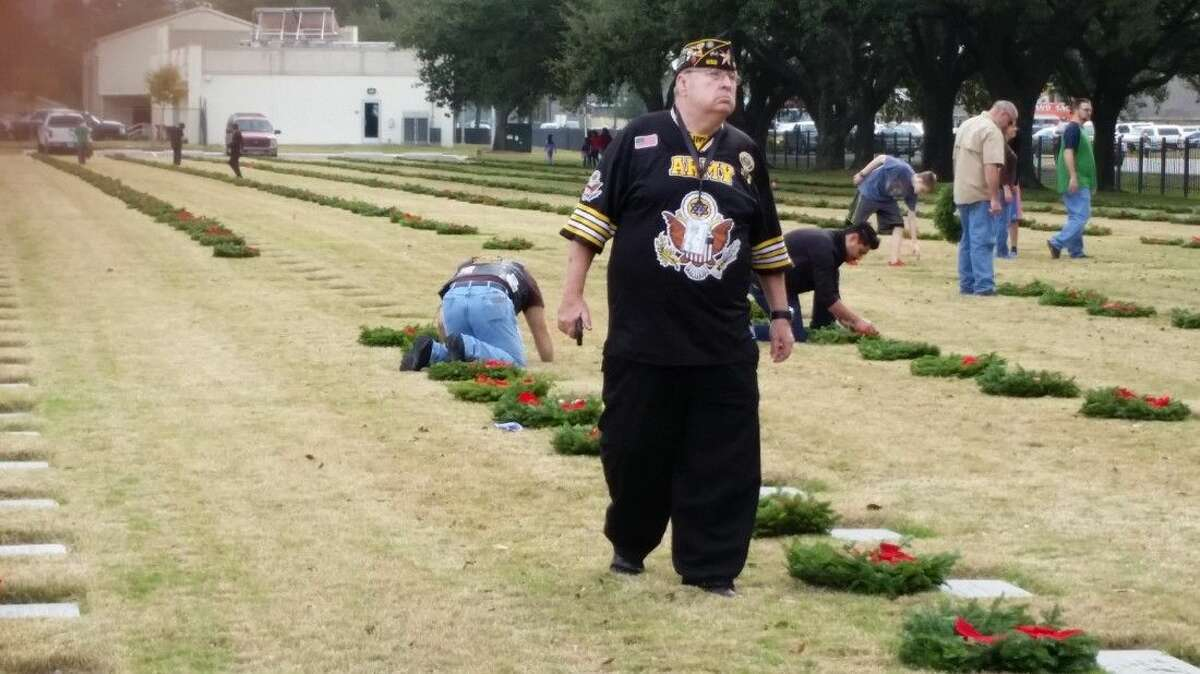 Wreaths across America, Houston set out Christmas wreaths Saturday as part of a yearly event designed to celebrate veterans buried in the cemetery.
